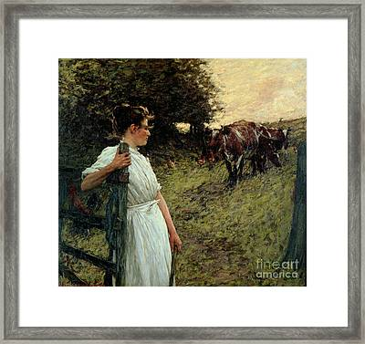 The Farmer's Daughter Framed Print by Henry Herbert La Thangue