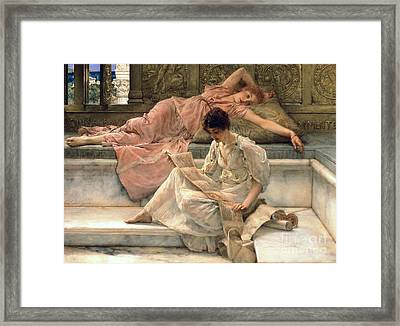 The Favourite Poet Framed Print by Sir Lawrence Alma-Tadema