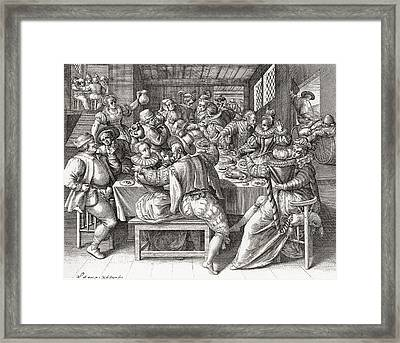 The Feast, After A 17th Century Framed Print by Vintage Design Pics