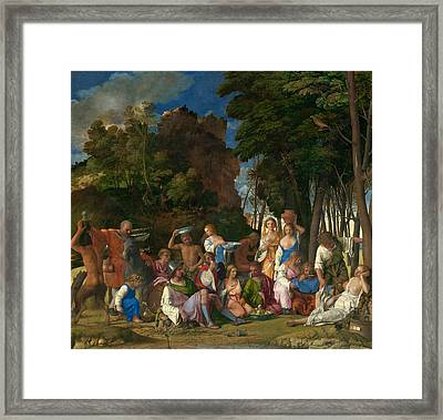 The Feast Of The Gods  Framed Print by Giovanni Bellini and Titian