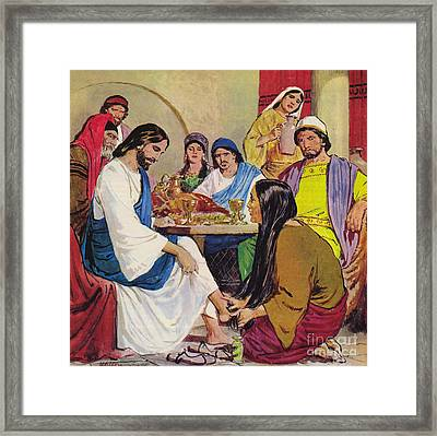 The Feet Of Jesus Anointed In The House Of A Pharisee By A Woman Of Faith Framed Print