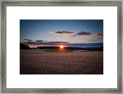 Framed Print featuring the photograph The Fields At Sunset by Mark Dodd