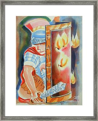 Framed Print featuring the painting The Fiery Darts Of The Evil One 3 by Kip DeVore