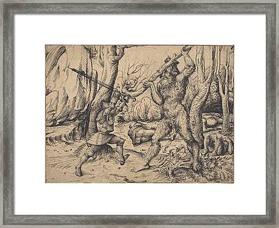 The Fight In The Forest Framed Print by Hans Burgkmair I