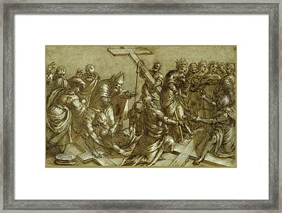 The Finding Of The True Cross Framed Print by Pietro Malombra