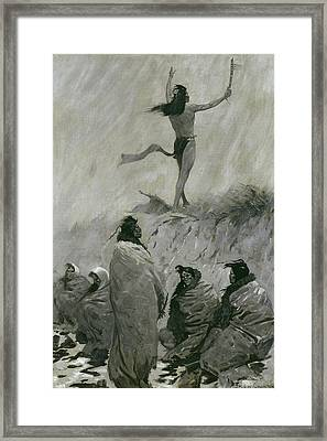 The Fire Eater Raised His Arms To The Thunder Bird Framed Print by Frederic Remington