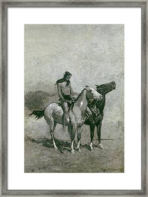 The Fire-eater Slung His Victim Across His Pony Framed Print by Frederic Remington