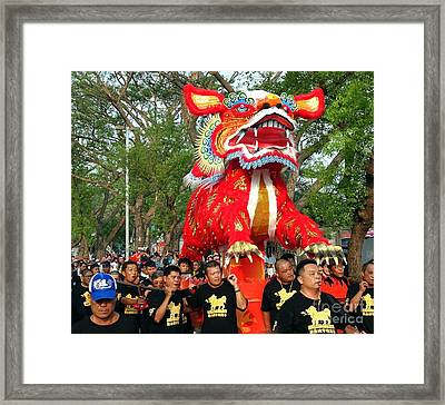 Framed Print featuring the photograph The Fire Lion Procession In Southern Taiwan by Yali Shi