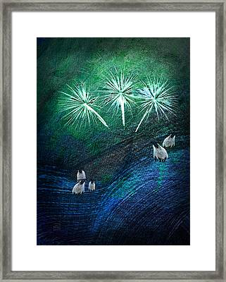 Framed Print featuring the digital art The Fireworks Are Starting by Jean Moore