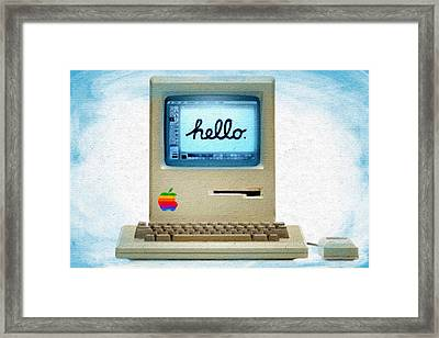 The First Apple Computer Painting Blue Framed Print by Tony Rubino