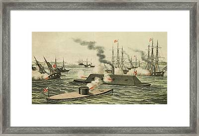 The First Battle Between Iron Ships Of War Framed Print