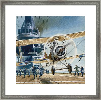 The First Deck Landing Framed Print by Wilf Hardy