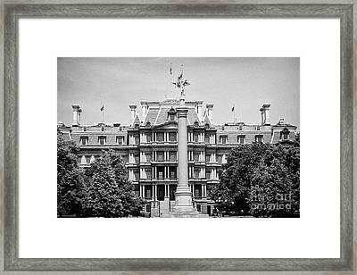 the first division monument in front of the old executive office building Washington DC USA Framed Print