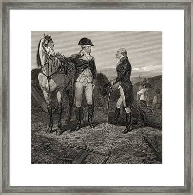 The First Meeting Of George Washington And Alexander Hamilton Framed Print by Alonzo Chappel