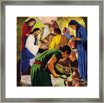 The First Miracle, Water Into Wine Framed Print by Clive Uptton