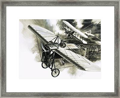 The First Reconnaissance Flight By The Rfc Framed Print by Wilf Hardy