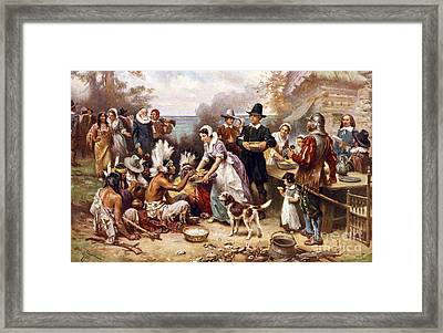 The First Thanksgiving Framed Print by American School