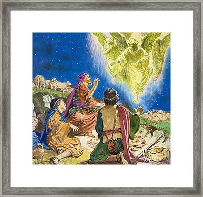 The First To Be Told About Jesus Framed Print by Clive Uptton