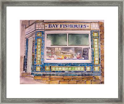 The Fish And Chip Shop Framed Print by Victoria Heryet