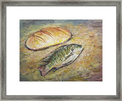 The Fish And The Bread Framed Print