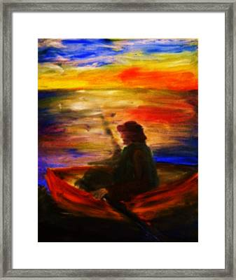 Framed Print featuring the painting The Fisherman by Evelina Popilian