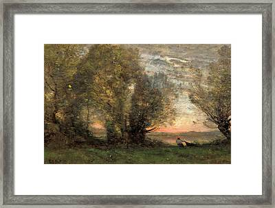 The Fisherman - Evening Effect Framed Print by Jean-Baptiste-Camille Corot