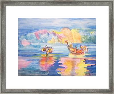 Framed Print featuring the painting The Fishermen Come Home by Connie Valasco