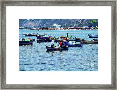 Framed Print featuring the photograph The Fishermen - Miraflores, Peru by Mary Machare