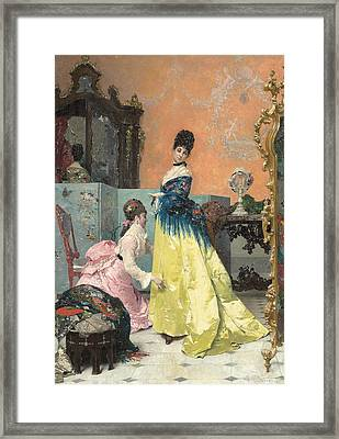 The Fitting Framed Print by Alfred Emile Stevens