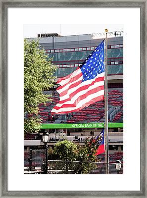 The Flag Flying High Over Sanford Stadium Framed Print