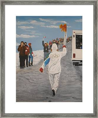 Framed Print featuring the painting the Flame by Betty-Anne McDonald