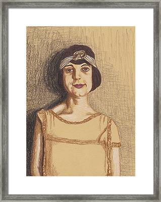 Framed Print featuring the drawing The Flapper by Jean Haynes