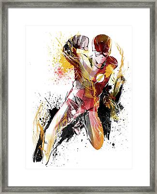 The Flash Framed Print by Unique Drawing