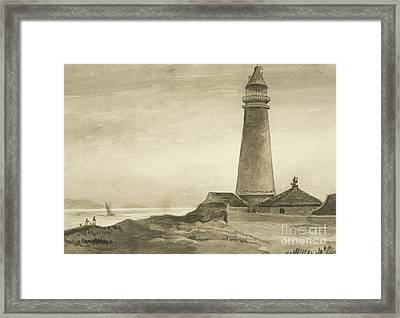 The Flat Holm Lighthouse Framed Print by John Reverend Eden