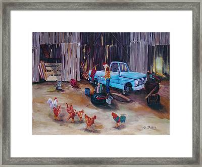 The Flat Tire Framed Print by Gail Daley
