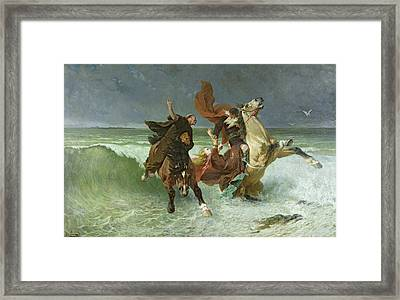 The Flight Of Gradlon Mawr Framed Print by Evariste Vital Luminais