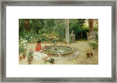 The Flower Garden Framed Print by Richardo Brugada y Panizo