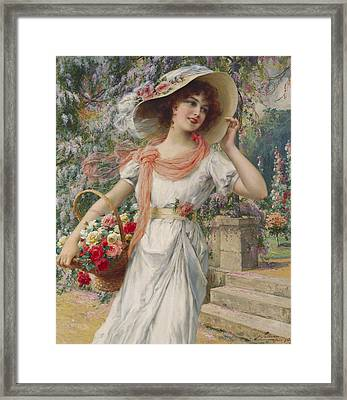 The Flower Girl Framed Print by Emile Vernon
