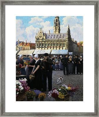 The Flower Market In Middelburg Framed Print by Henri Houben