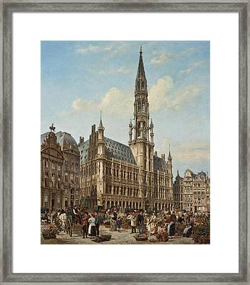 The Flower Market In The Grande Place. Brussels Framed Print by Cornelis Christaan Dommelshuizen