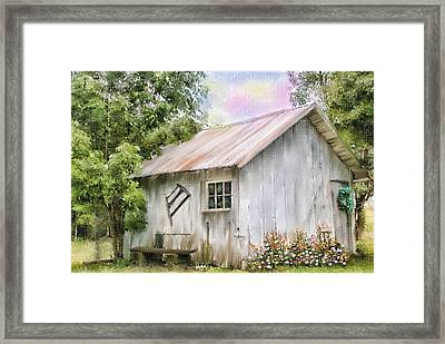 The Flower Shed Framed Print by Mary Timman