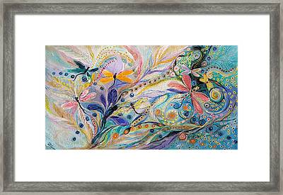 The Flowers And Dragonflies Framed Print