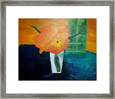 The Flowers In The Vase Framed Print by Roy Penny