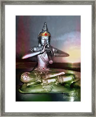 The Flute Player - Sunrise Melody Framed Print