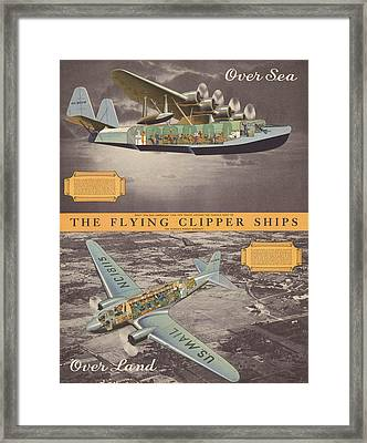The Flying Clipper Ships - Pan American Airways - Vintage Travel Advertising Poster Framed Print