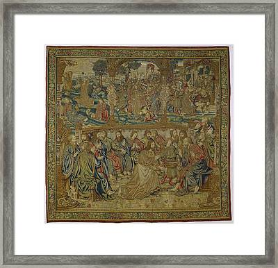 Textile Tapestry The Foot Washing   Pieter Van Enghien  Ca 1511  Ca 1520 Framed Print