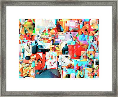 Framed Print featuring the photograph The Football Quarterback In Abstract Cubism 20170328c2 by Wingsdomain Art and Photography
