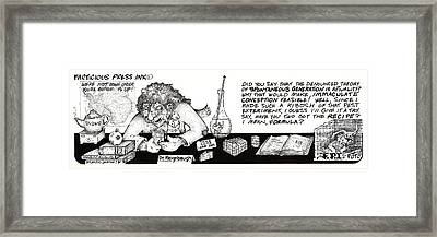 Real Fake News Cartoon The Formula Framed Print by Dawn Sperry