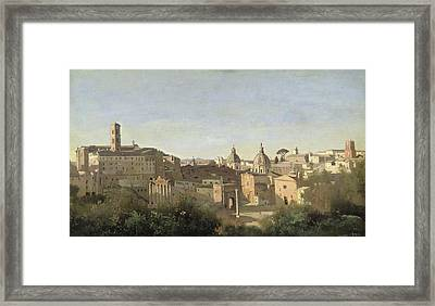 The Forum Seen From The Farnese Gardens Framed Print by Jean Baptiste Camille Corot