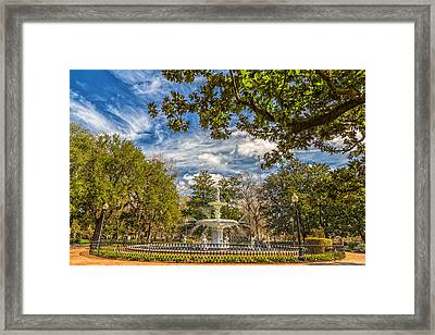 The Fountain At Forsyth Framed Print
